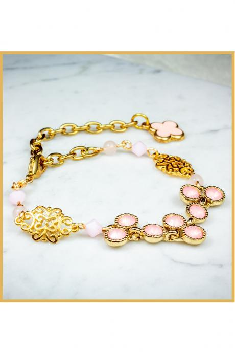Dainty Pink Mixed Elements Bracelet with Clover Charms