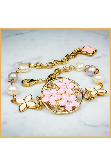 Dainty Freshwater Pearls Peranakan Inspired Bracelet With Clover Charm